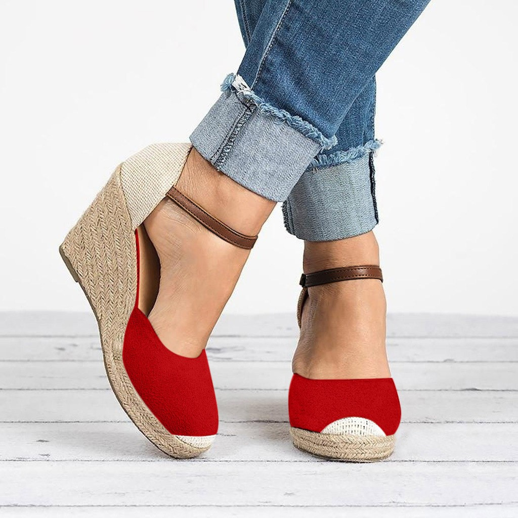 Women Shoes Suede Wedges High Ankle Sandals Round Toe Casual Shoes 2019 New High Slope Round Head Sandals Casual Shoes Sandalen in High Heels from Shoes