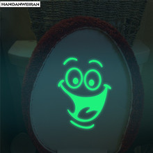 1PCS  Smiley Night glowing stickers Wall Sticker Luminous Sticker For Bathroom Toilet Sticker Home Decoration 17*16CM home decorative london twin bridge night glowing sticker luminous decals for couples room
