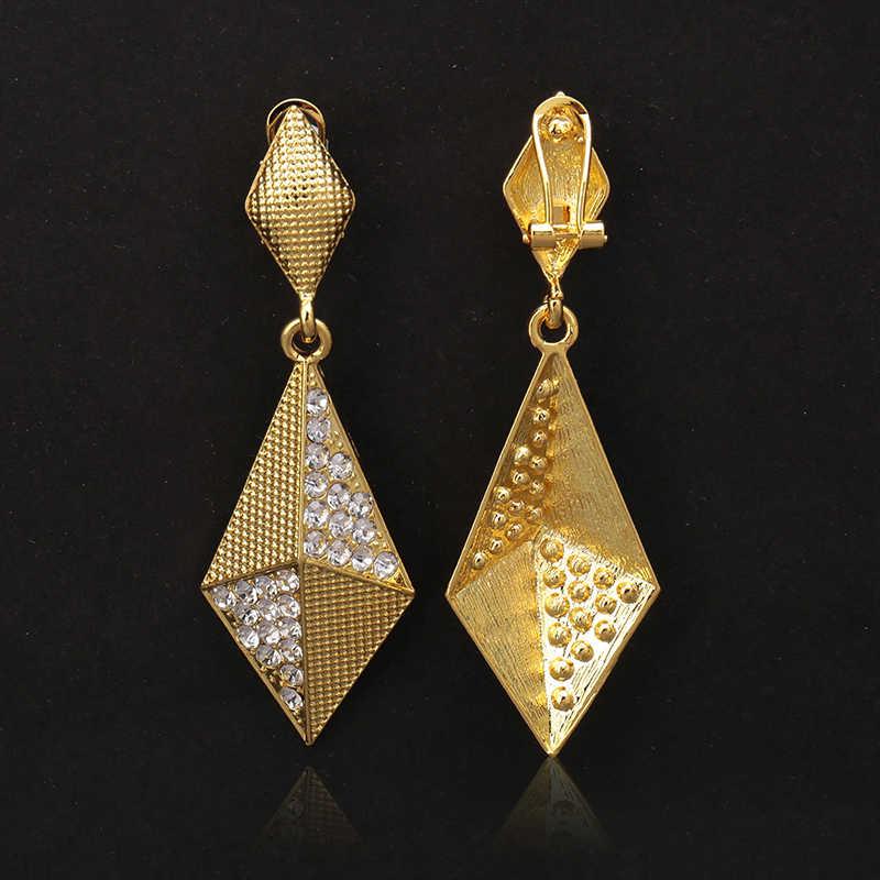 Fashion African beads Jewelry Sets Women customer nigerian Wedding Dubai Golden Plated jewelry set Crystal Bridal Accessories