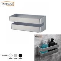 Probrico Black/White/Sliver Bathroom Shelf Shower Basket Cosmetic Rack Wall Mounted Bathroom Organizer Storage Single Tier