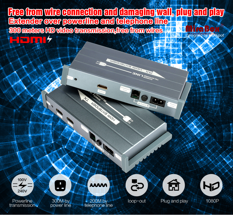HSV900 Power Line HDMI Extender Using H.264 Encode Protocol Support Full HD 1080P High Quality Image 300m Transmission (1)