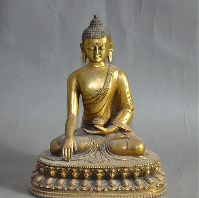 Tibetan Buddhism Joss Bronze Gilt Sakyamuni Tathagata Medicine Buddha Statue