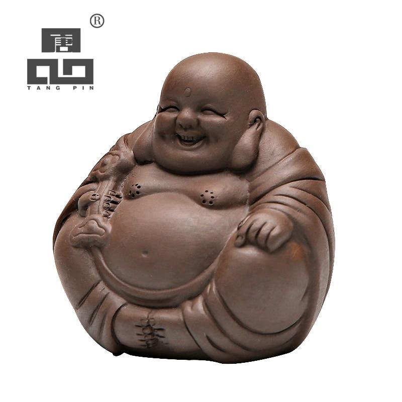 TANGPIN Purple Clay Tea Pets Buddha Monk Zisha Tea Accessories