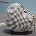 Hot Sale Heart-shaped Full Diamond Day Clutches For Wedding Women Party Evening Bag Mini Shoulder Handbag Dinner Bag With Chain