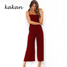 Kakan 2019 summer new women's wide-leg jumpsuit sexy sling one shoulder back nine points jumpsuit breathable waist jumpsuit