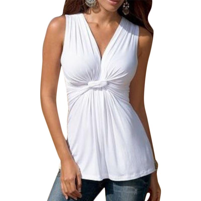 Womens Summer Sleeveless Blouses Women Shirt Sleeveless V Neck Chest Knot Wrap Tops 4 Colors plus size free shiping LJ3908M semi formal summer dresses