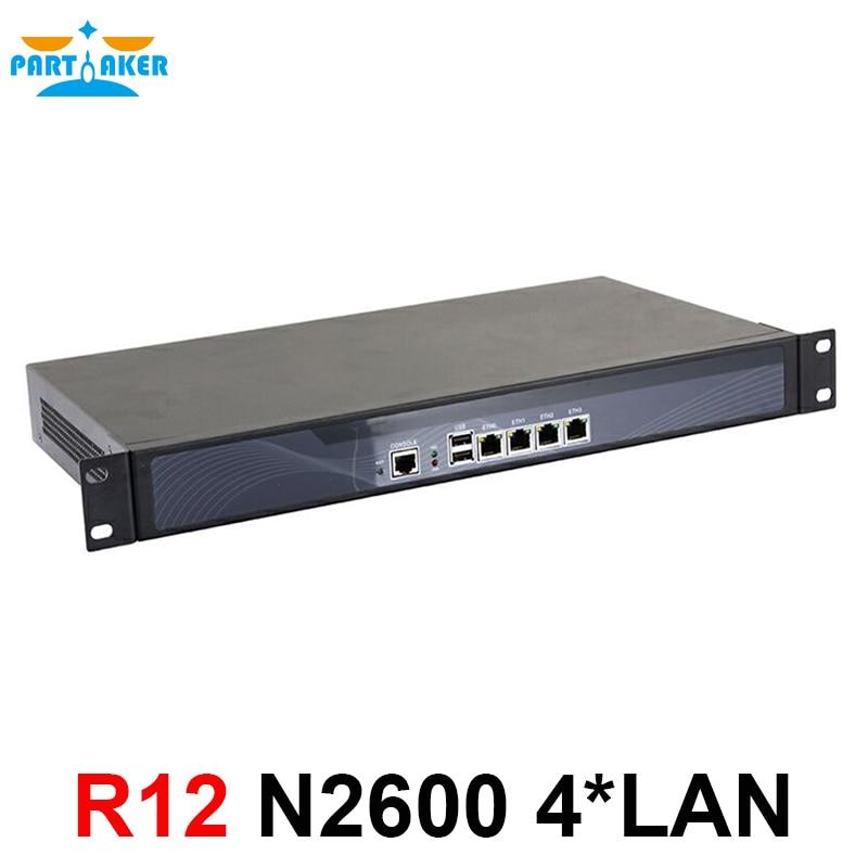 Partaker R12 Intel router appliance 1U chassis vpn server N2600 N2800 firewall 4 lan