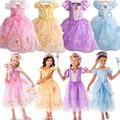 2015 Meninas Roupas Cosplay Fantasias Rapunzel Belle Vestidos Crianças Vestido de Crianças Vestido de Festa Vestido De Casamento Da Princesa Sofia Jurken