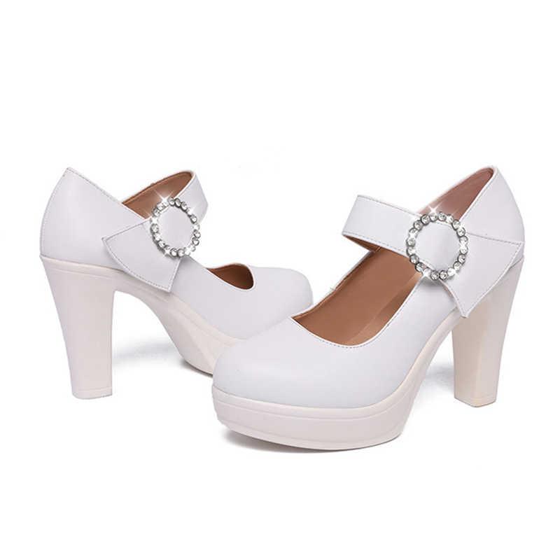SONDR zapatos de mujer verano 2019 gót vuông khối gót giày nền tảng rhinestone bơm toe vòng nông topuklu salto alto