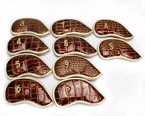 Image 2 - Pele de crocodilo PU headcover clubes de golfe headcover ferro iorns proteja barrete 10 pçs/lote frete grátis