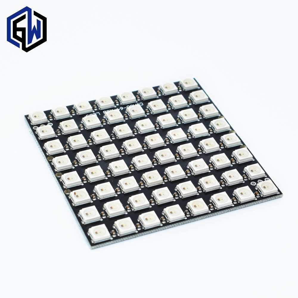 Active 10pcs Ws2812 Led 5050 Rgb 8x8 64 Led Matrix Active Components