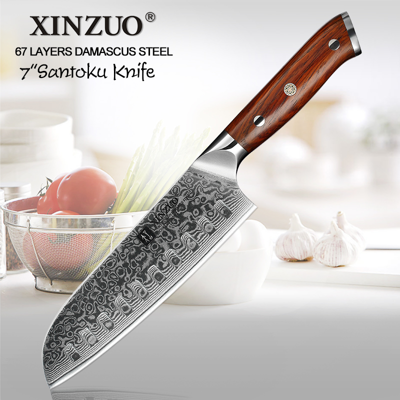 XINZUO 7 ''inch Japanese Chef Knife Damascus Steel Kitchen Knife Cleaver Knives Professional Santoku Knife 58HRC 62HRC Blade-in Kitchen Knives from Home & Garden    1
