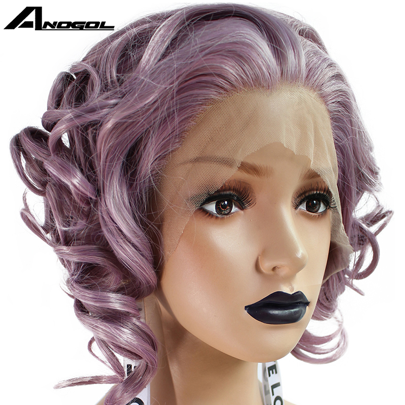 Anogol Purple Short Wavy Bob Full Hair Free Part Wave Wigs High Temperature Fiber Synthetic Lace