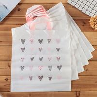 50pcs Plastic Bags Gift Shop Carrier Bag With Handle Boutique Retail Printed Design