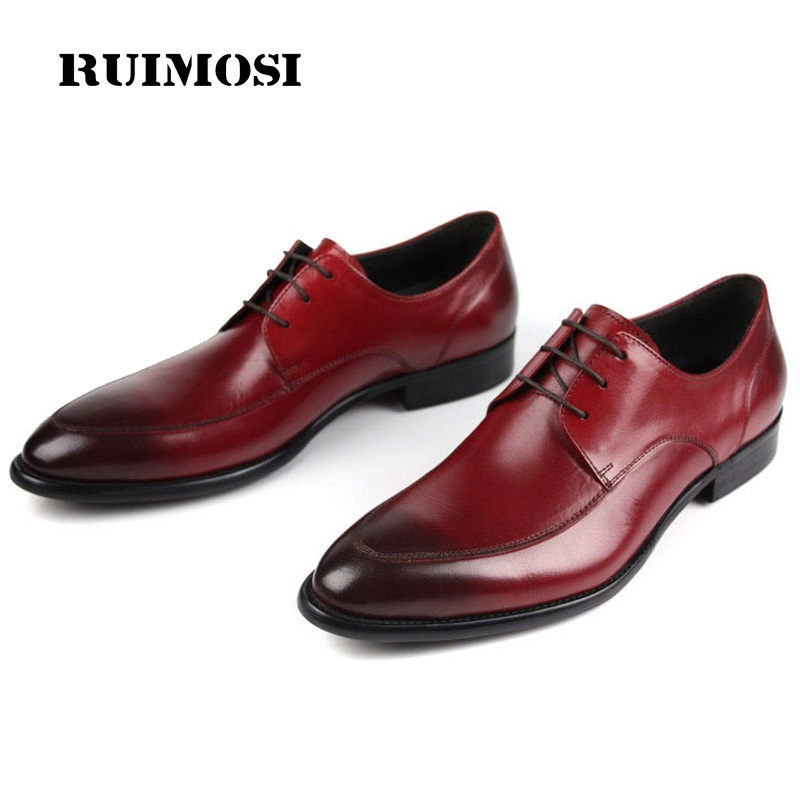 RUIMOSI Elegant Formal Man Derby Bridal Dress Shoes Genuine Leather Wedding Oxfords Luxury Brand Round Toe Men's Footwear SF84