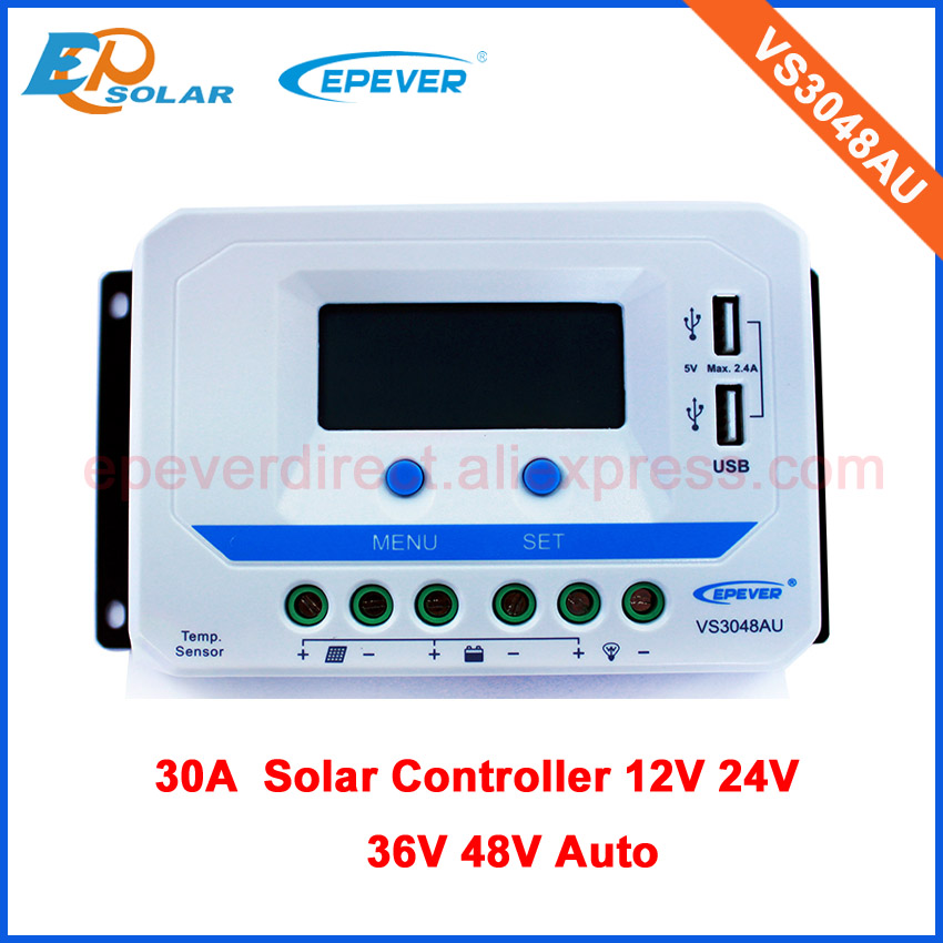 PWM 30A 30amp VS3048AU with lcd display 12v/24v/36v/48v automatic work solar panel controller bulit in USB output epsolar lcd display 30a 30amp pwm vs3048au solar controller regulator with temperature sensor