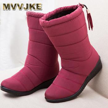 MVVJKE kobiety buty czarny czerwony połowy łydki jazda buty Rosja zima wodoodporny zachować Ciepłe buty śniegu w dół buty tanie i dobre opinie Dorosłych Gumowe Slip-on od 0 do 3 cm Tkanina bawełniana Płaskie z Fringe Płaski (≤ 1cm) B129 Syntetycznych Okrągły palec