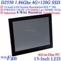"""Alta qualidade 15 """"tudo em um touchscreen led embeded pos pcs com intel d2550 1.86 ghz 1024*768 hdmi 2 * rj45 6 * com 4g ram 120g ssd"""