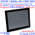 "High quality 15"" all in one LED touchscreen embeded POS PCs with Intel D2550 1.86Ghz 1024*768 HDMI 2*RJ45 6*COM 4G RAM 120G SSD"