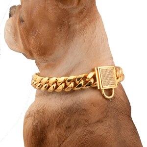 Image 3 - Pet köpek zincirleri dayanıklı kalınlık altın paslanmaz eğitim yürüyüş zincir yaka Metal güçlü köpek evcil hayvan göğüs tasması köpek Supplues