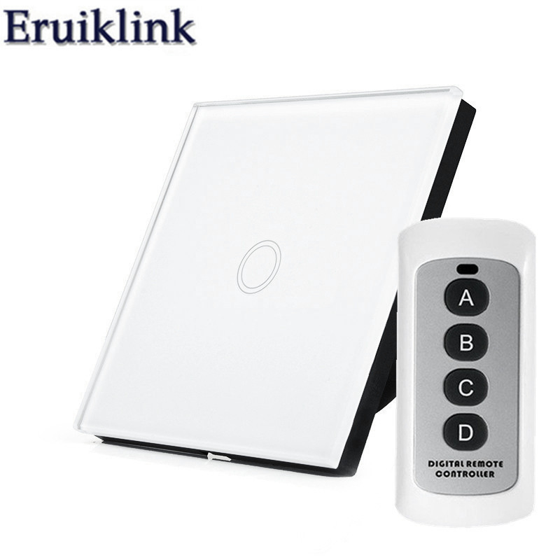 EU/UK Standard Light Switch, 1 Gang 1 Way Glass Panel Wall Touch Switch for RF433 Smart Home Wireless remote control switch eu uk standard funry remote control switch 1 gang 1 way rf433 smart wall switch wireless remote control touch light switch