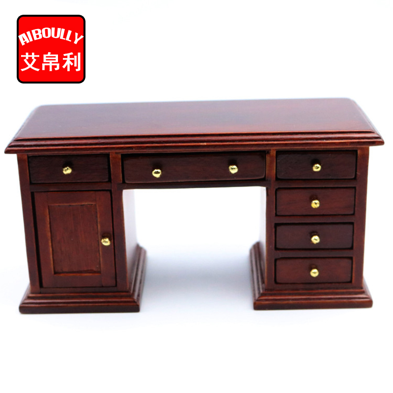 Dollhouse 1/12 Scale Miniature furniture hand Elegant red office desk Doll House Kids Great Gift Toys
