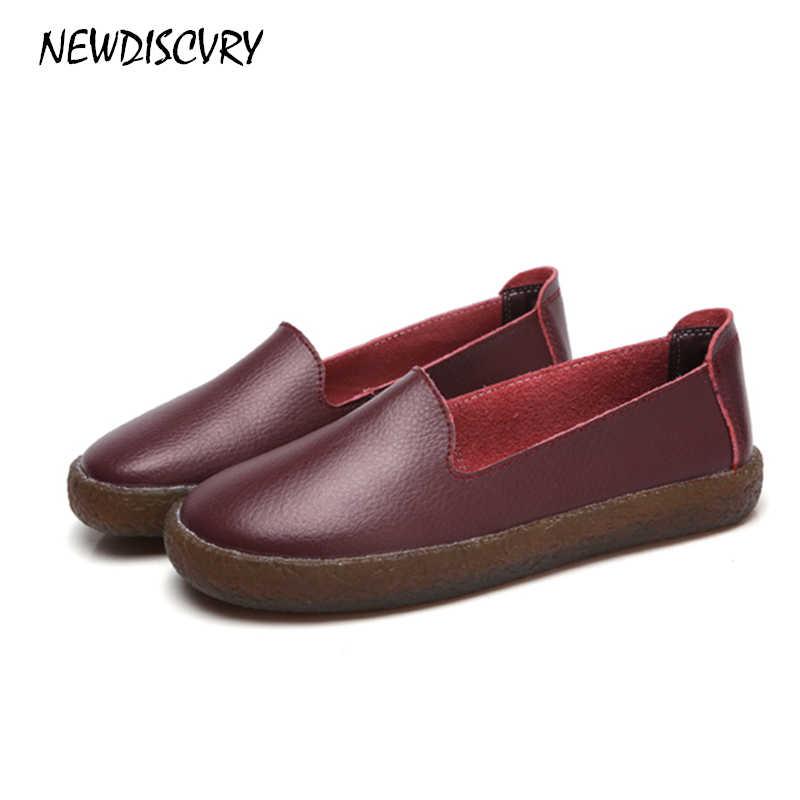 NEWDISCVRY Echt Leer vrouwen Flats 2018 Lente Slip-on Vrouwen Platte Schoenen Casual Comfortabele Vrouw Soft Loafers Plus maat 10