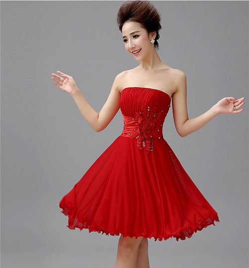 14bdc012481 Elegant Sequin Flower Strapless Red Short Prom Dresses Sexy Backless Ruched  Purple Bandage Prom Dress For Special Occasion 2015