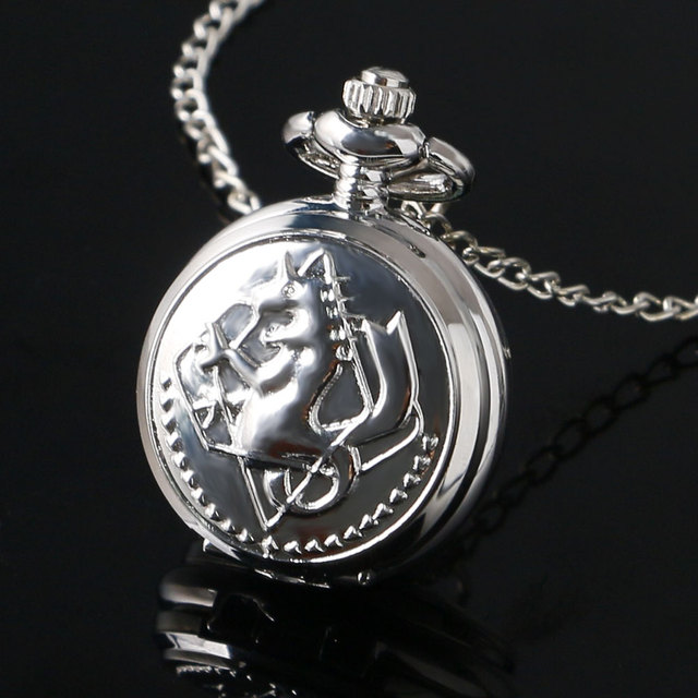 Small Size Silver Color Fullmetal Alchemist Theme Smooth Fob Pocket Watch With N
