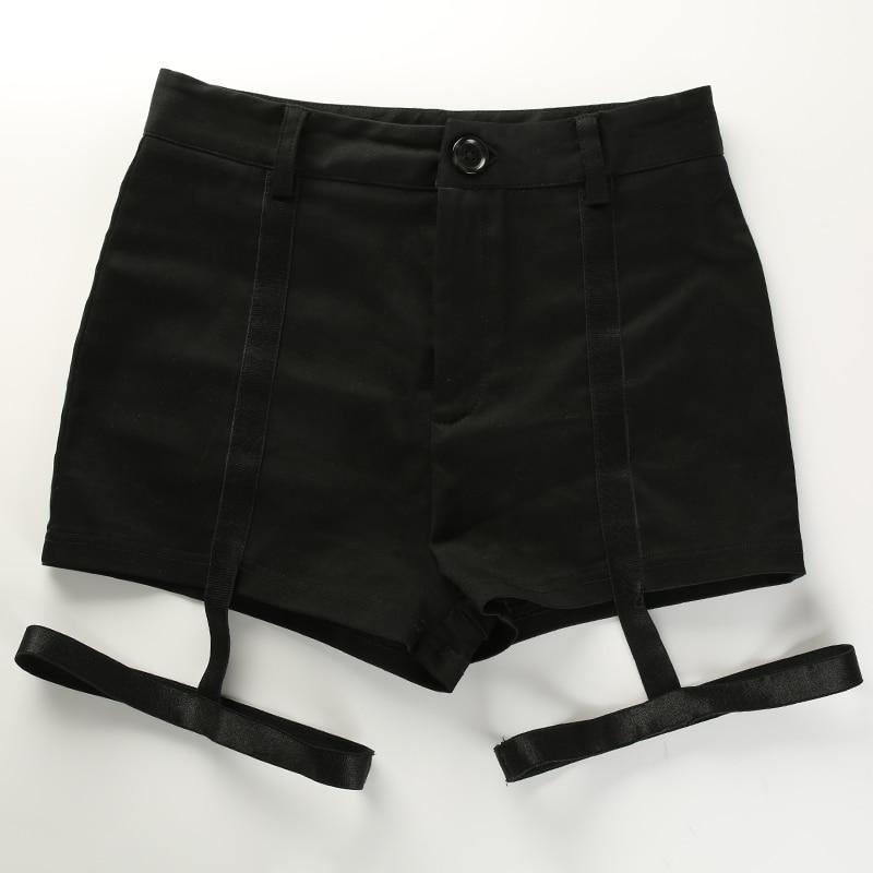 9 Sweetown黑色弹性高腰修身短裤Hotpant性感街头风格丝带迷你短裤2018夏季时尚短裤Feminino