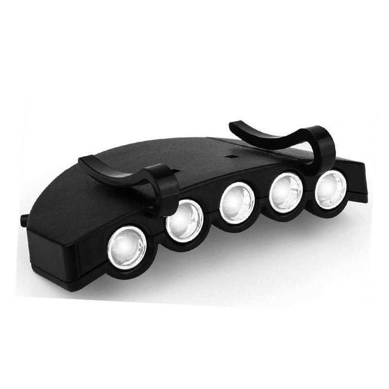 New Black Super Bright 5 LED Clip Hat Night Fishing Light Flashlight Head Cap Hat Light Fishing Headlights