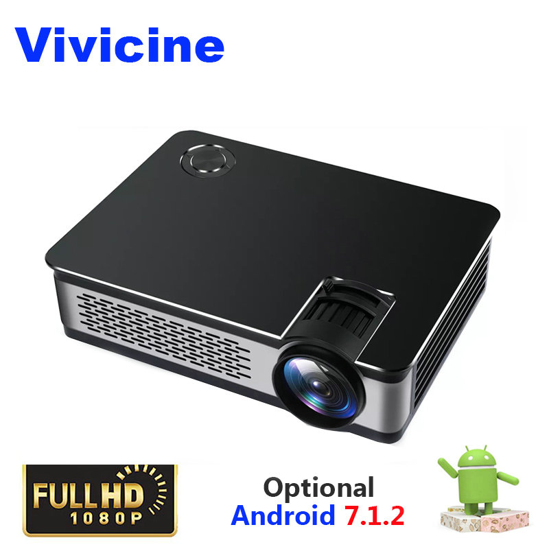 Vivicine Full HD Projector 1080P,Optional 1920x1080 3800 Lumens Android Portable HDMI USB PC Home Theatre Projectors Beamer dlp full hd daylight projector 7500 lumens portable hd 1080p hdmi vga home cinema light projector free keyboard optional system