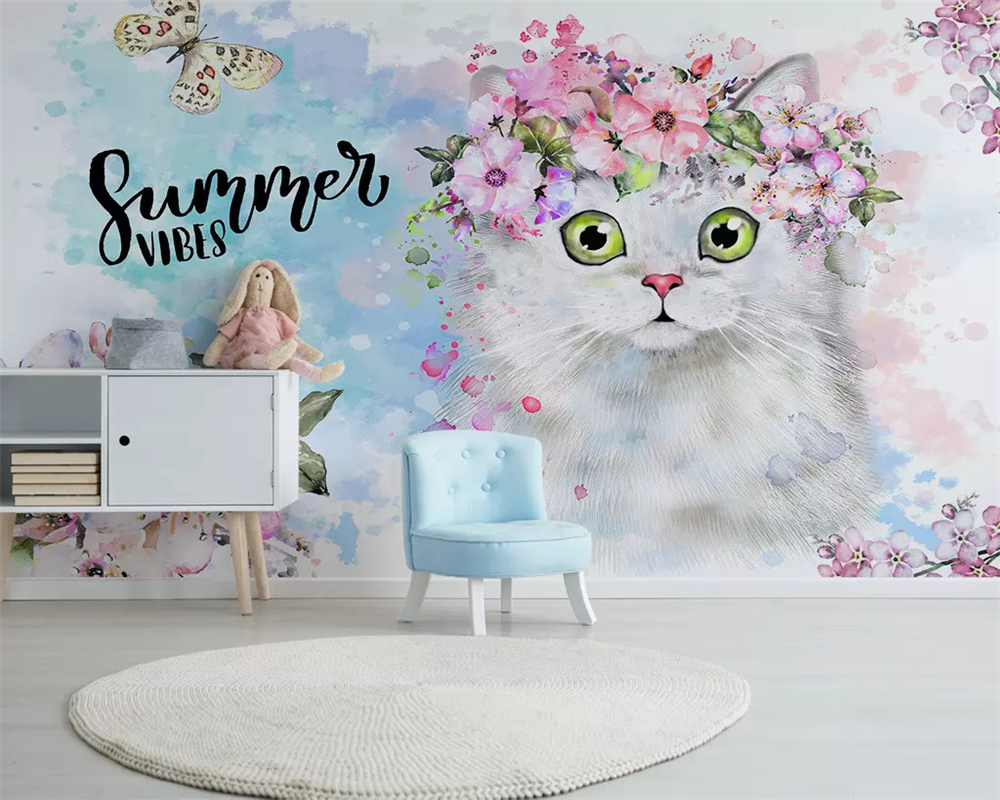 Beibehang Custom Fashion Hand-painted Watercolor Cute Cat Dog Animal Pet Children's Room Background Papel De Parede 3d Wallpaper