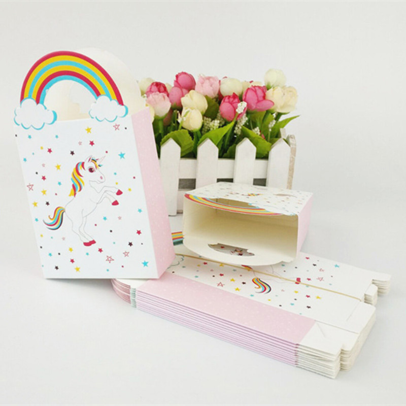 6pcs Unicorn Bag Paper Candy Gift Box Rainbow Handles Packaging Marriage Wedding Cardboard Dragee Gift Bags Wrapping Supplies Event & Party