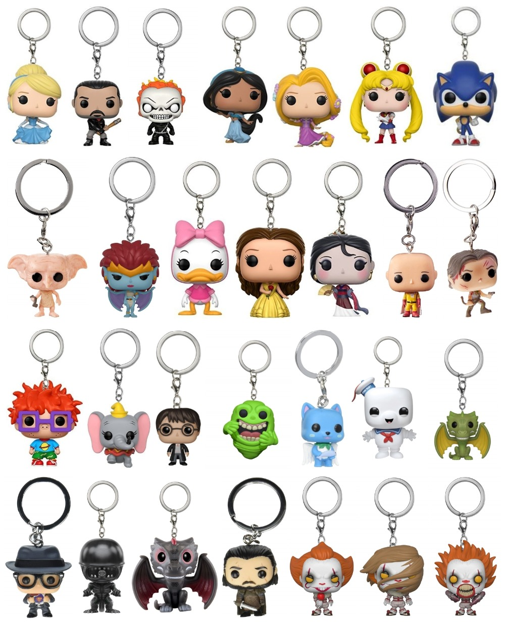 New Pop Toys Keychain Heroes Princess Rick And Morty Sailor Moon Game Of Thrones Key Chain Bag Pendant Jewelry Out Of Box