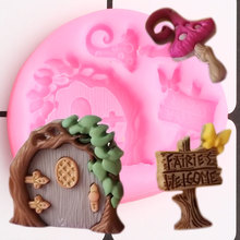 Fairy Garden Silicone Molds Door Cupcake Topper Fondant Mold DIY Baby Birthday Cake Decorating Tools Chocolate Candy Clay Mould