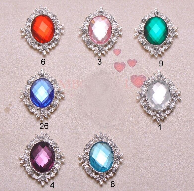 J0859 25mmx32mm rhinestone button rhinstone cluster silver plating flat back 100pcs lot all crystals