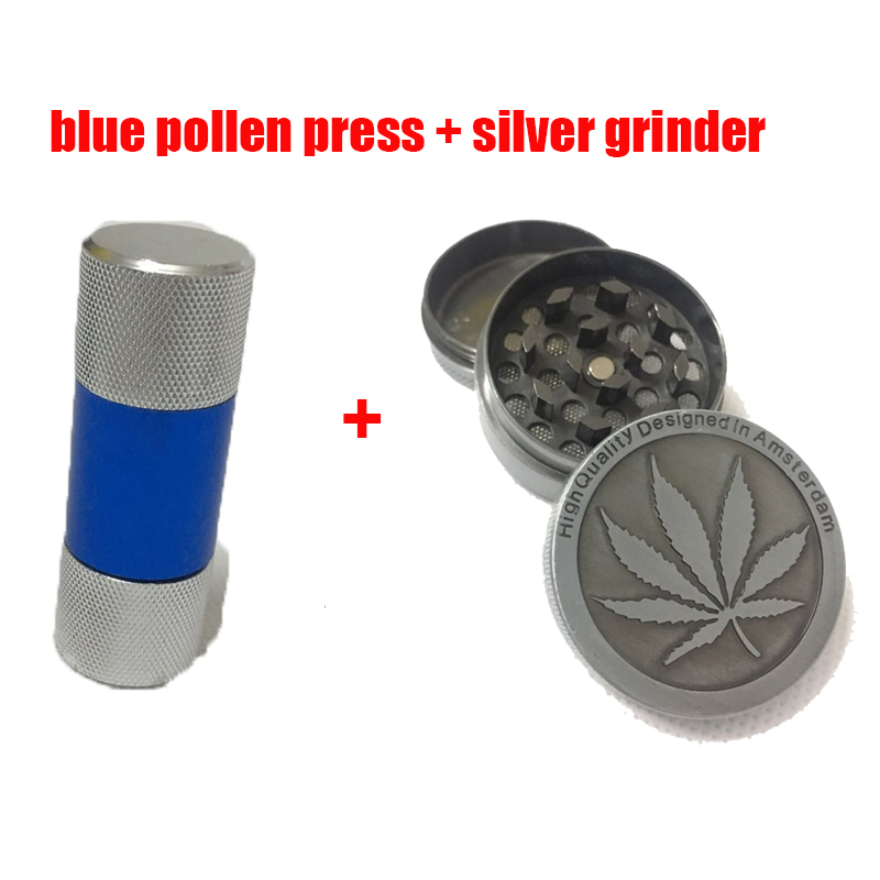 Pollen Compresor Press Smoke Pressure Device with Silver Grinder for Hookah Shisha Weed Grinder Weed in Tobacco Pipes Accessories from Home Garden