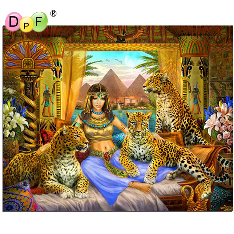 DPF DIY Diamond Painting Cross Stitch Pattern women and animal Diamond Embroidery Mosaic For Home Decoration Painting