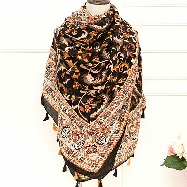 7beb4697f Moda feminina floral lenço lenços dupla cor borlas xaile agradável flores  do vintage cachecol xales