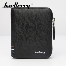 Baellerry PU Leather Men Short Wallet Solid Black Blue Coffee Zipper Wallet Coin Pocket Card Holder Photo Holder Porta Wallet baellerry men solid black long wallet pu leather zipper n rope wallet coin pocket card holder photo holder business wallet men