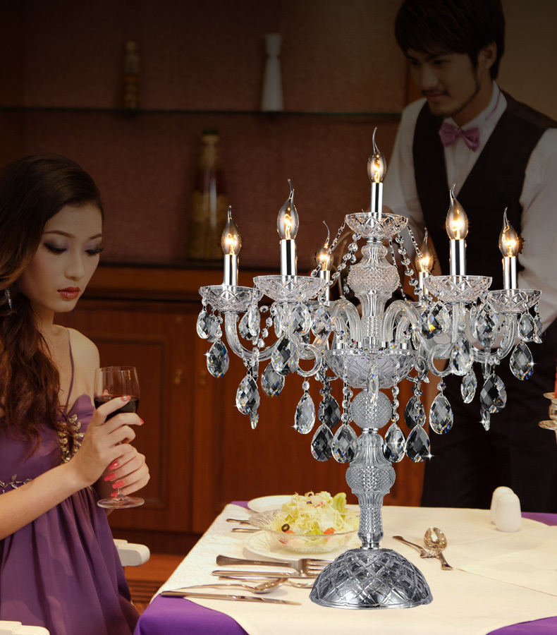 Chrome Restaurant Crystal Table Lamps Wedding Led Candle Holders Work Table  Light Antique Large Crystal Candlestick Stand Lamp In LED Table Lamps From  ...