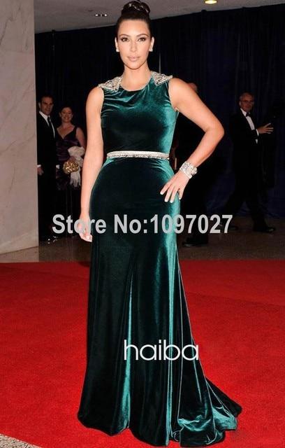 Cola de pescado O Cuello Backless Vestidos de La Celebridad Larga Backless Kim Kardashian Red Carpet Vestidos Con Beadings MG18