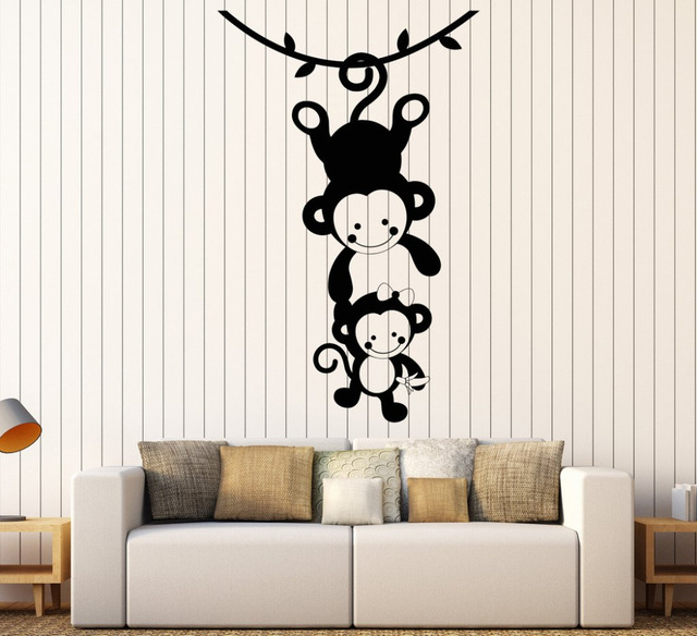 Funny Monkey Family Vinyl Wall Decals Living Room Sofa Background ...