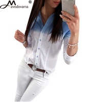 Avodovama M Casual Women Brief Long Sleeve Gradient Colour Open Stitch Tops Blouse Fashion Office Lady