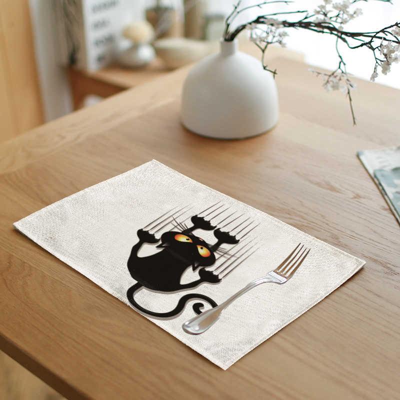 Милые Желтые геометрические салфетки для кошек на свадьбу с белыми буквами 42*32 см для детей, как набор для стола, украшение дома, чаша, обеденные коврики