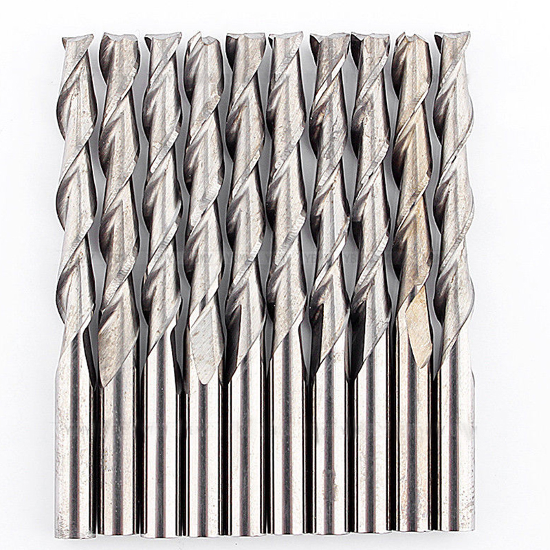 10pcs 2 Flutes CNC Solid Carbide Spiral End Mill 3.175x22mm Router Bits For Wood Cutter Milling Tool 4 22 3 flutes carbide mill spiral cutter wood cnc router bits cutting tools for cnc machine
