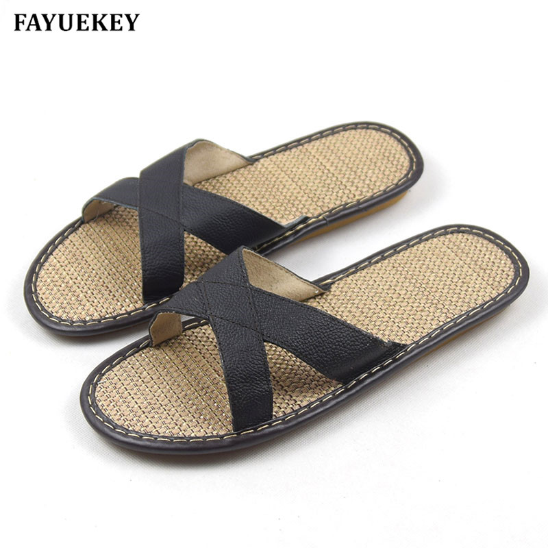 FAYUEKEY 2018 New Spring Summer Fashion Genuine Leather Home Slippers Men Indoor\ Floor Outdoor Slippers Non-slip Boy Flat Shoes xiuteng 2017 summer leather men slippers home indoor flat with shoes european high grade non slip floor sandals for men