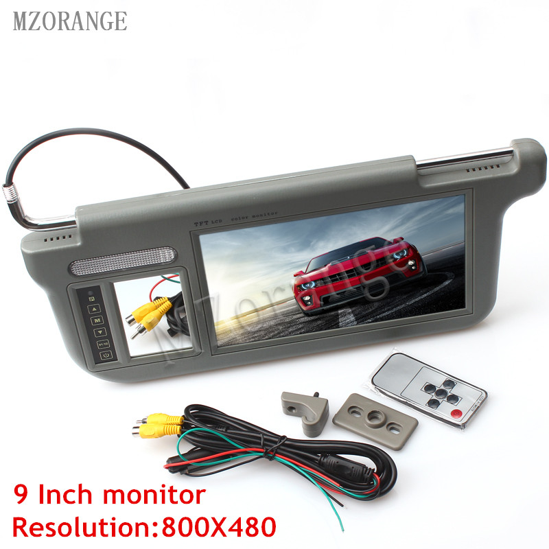 MZORANGE 9 Touch Car Sun Visor Monitor 800x480 Resolution 2 Channel Video for DVD Player Car Rearview Monitor Left/Right Gray touch 7inch car sun visor dvd tv media screen&rear view silver backup monitor camera kits