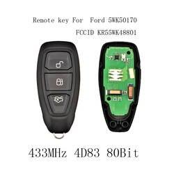 2 шт. * 433/434 мГц 3 кнопки Smart Remote ключ для Ford Focus C-Max Mondeo Kuga Fiesta b-Max 2011-2017 KR55WK48801 4D83 80bit